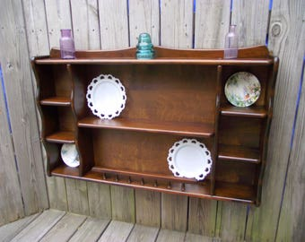 Wood Teacup Saucer Plate Shelf Curio Wall Tiered Display   Kitchen Dining  Room   Knick Knack