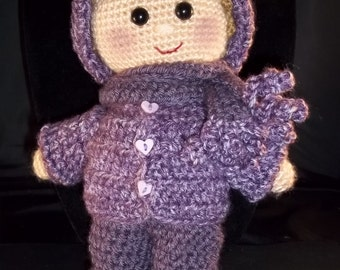 Hand crocheted  Doll - Light BrownHair - Dusty Purple Overalls - FREE SHIPPING