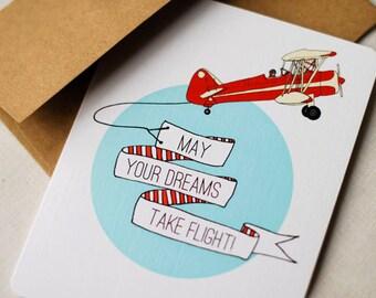 May Your Dreams Take Flight!- Blank Card