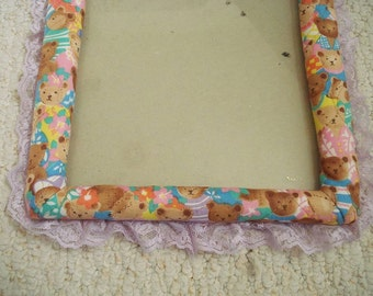 Baby Bears Frolic on Fabric Covered Frame - 8 by 10 Vintage Frame - Nursery Decor Trimmed in Lavender Lace