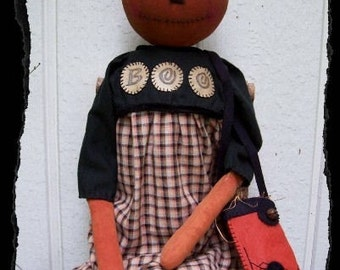 PUMPKIN BOO, A Primitive, Folk Art, Doll, Spider Purse, Halloween, Pattern by Pea Picker's Primitives