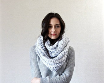The Lourdes - MARBLE // chunky infinity scarf. hooded knit scarf. thick textured fall winter accessory