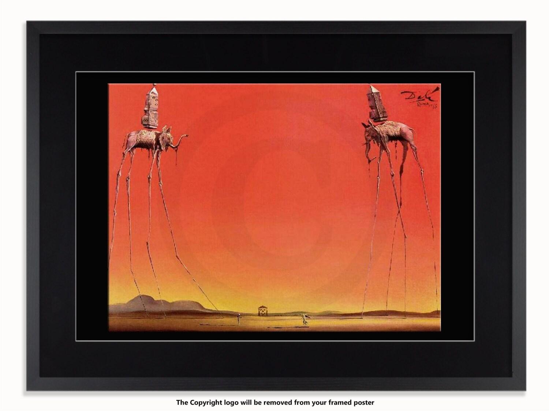 Salvador Dali elefantes rojo arte cartel
