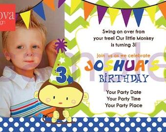 Monkey Birthday Invitation Set