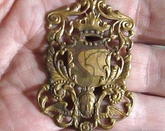 2 Vintage Solid Brass Focal Stampings