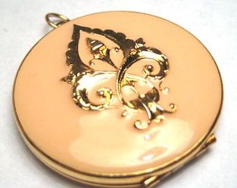 Vintage Enamel Locket French Fleur de Lis Pendant Necklace 1950