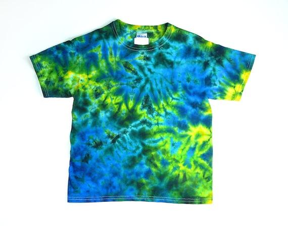 Tie dye shirt youth t shirt blue yellow green crumple for Custom tie dye t shirts