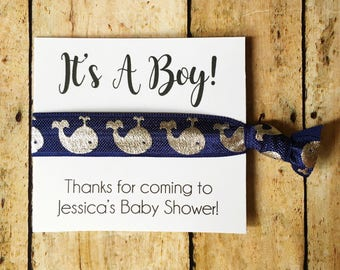 Boy Baby Shower Favors, Hair Tie Favors, Nautical Baby Shower, It's a Boy, Boy Shower Favor, Baby Shower Favor, Whale Shower, Custom Favors