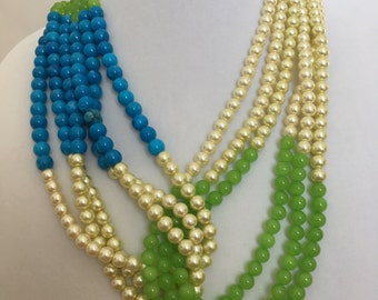 Pearl and Glass Bead Necklace, Multi Strand Necklace, Layered Necklace, Blue Green and Pearl Necklace