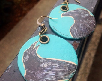 Aristophanes the Raven - Hand-Painted Disc bird earrings Portland Audubon Society