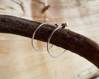 Large Hammered Square Hoops