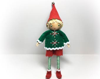 Elf Bendy Doll,  Large 6 inch,  Waldorf Felt Bendable DollHouse-  Christmas Elf Doll- Boy- Big Elf Holiday Kindness Tradition