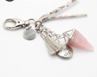 """""""Planet"""" personalized engraved Medal with Rose Quartz keychain"""