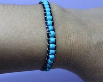 Turquoise Leather Wrap Beaded Bracelet