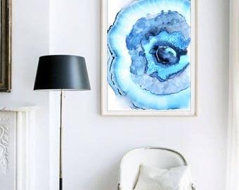 Agate Print, Colorful Watercolor Art, Turquoise Blue Geode Print, Unique Painting, Boho Art Print, Bright Wall Art, Apartment Decor, Trendy