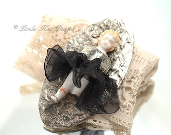 Going to the Ball II Frozen Charlotte Doll Brooch Soldered Doll  Statement Pin Assemblage Pin One-of-a-Kind Assemblage Broach