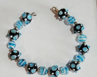 SALE HandCrafted Bracelet With Blue Murano Glass beads
