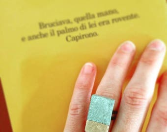 Concrete and gold ring