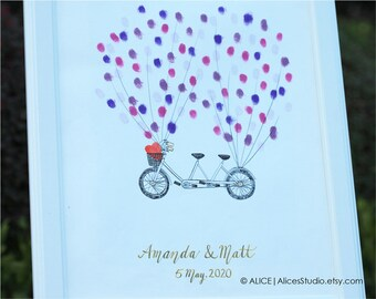 Wedding Guest Book, Custom Hand-Drawn Wedding Tandem Bike Guest Book - Original Art - Fingerprints & Signatures - Free Gift with Purchase
