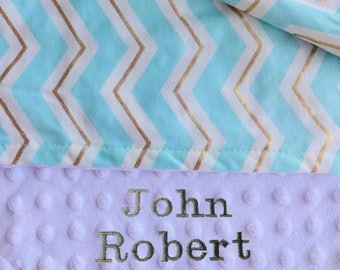 Light Blue and White Minky Baby Blanket. Baby Gift Shower Gift Baby Gift Baby Girl Gift Baby Boy Gift.
