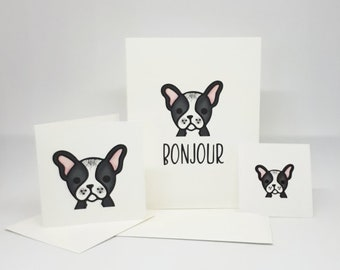 Bonjour Card / Hello Card / French Language Card / French Bulldog Card / French Bulldog / Sticker / Card Set/ Blank Card / Friendship Card