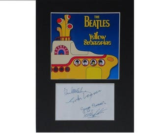 The Beatles printed signed autograph 8x6 inch mounted photo print display