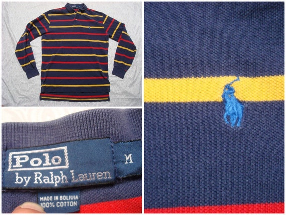 Vintage Retro Men's 90's Polo Ralph Lauren Tee shirt Blue Winter Sports Rare Spellout Blue White Long Sleeve XL Made in USA 7x3ZY