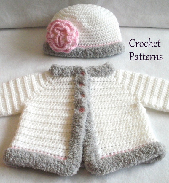Lovely Crochet PATTERN Baby Sweater & Hat Patterns The Laura Baby Girls  DJ52