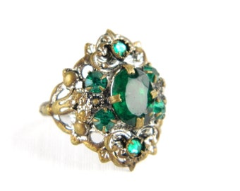Antique French Paste Rhinestone Emerald Green Cocktail Ring - Statement - May Birthstone - Early 1900's - Size 4