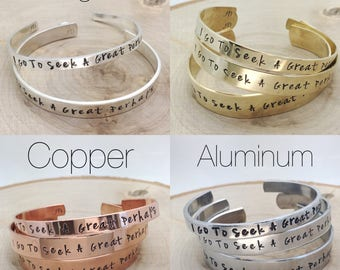 Custom personalized cuff bracelet / hand stamped / aluminum, brass, copper or sterling silver / saying / quote / lyric / poem / names