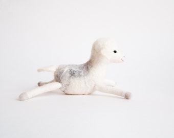 Nicolo - Felt Lamb, Art Toy,  Baby Sheep, Handmade, Farm Animal, Felted. soft pastel neutral white pink grey fog for mom. MADE TO ORDER
