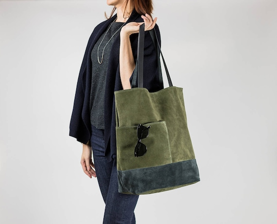 Large Leather Tote Bag, Oversized Tote Bag, Khaki Gray Suede Bag, Modern Everyday Bag, Travel Tote, Shoppers Bag, Laptop Bag, Green Tote Bag