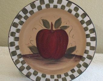 Handpainted, Folk Art, Primitive, Vintage, Enamelware, Bowl, Apple