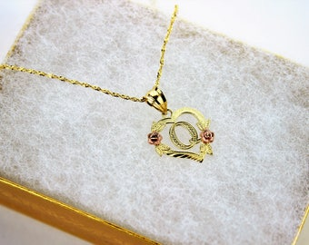 10K Gold Initial Pendant Charm Flower Diamond Cut Girl Women & Singapore Chain