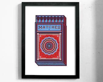 Matches   A3 Handmade Screenprint Retro Vintage Matchbox Art Print Poster