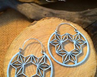 Sacred geometry Hoops. Large sliver hoops,tribal jewellery,ethnic jewellery,sliver earrings,