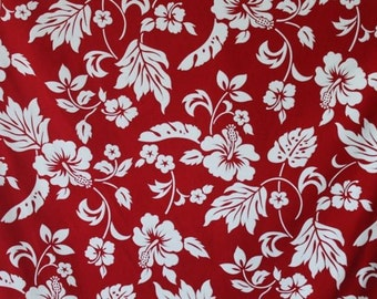 Classic Red and White Hawaiian Print in Cotton   (Yardage Available)