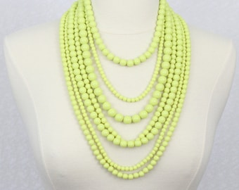 Lime Yellow Multi Strand Beaded Necklace Statement Necklace Multi Layered Beads Necklace Seven Strand Beads Necklace