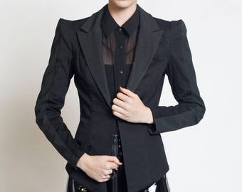 CARBON-14 BLAZER - Black Rubber Jacket Textured Industrial Goth Geometric Women's Futuristic Strong Shoulder Lady Gaga Cyber Corp Sleek Noir
