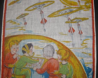 Amazing Vintage Child's Handkerchief, Hanky, Science Fiction Space Ships