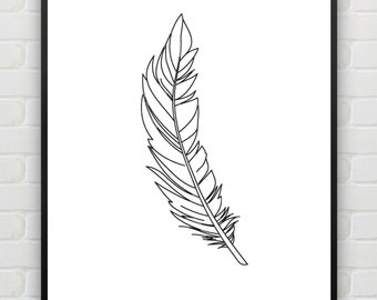 Feather Print Printable Black White Art, Minimalist Print, Feather Illustration, Nursery Wall Art, Bohemian Wall Decor, Instant Download
