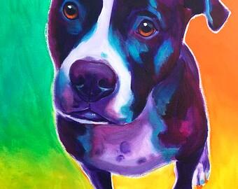 Pit Bull, Pet Portrait, DawgArt, Dog Art, Pit Bull Art, Pet Portrait Artist, Colorful Pet Portrait, Pet Portrait Painting, Art Prints