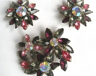 "Free Shipping to US. Vintage Swarovski Smoke/Amethyst/Rose Pink/AB Rhinestone ""Beau Jewels"" Brooch & Clip earrings Demi Parure - STUNNING!"