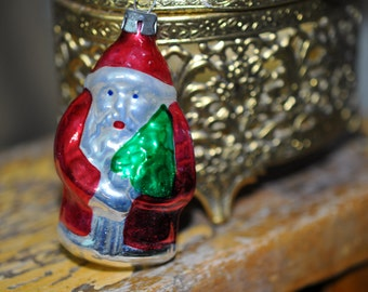 Wonderful Antique Santa Ornament, vintage Christmas ornament, old hand blown, Great Gift for a Collector #107