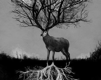 Deer Forest illustration Watercolour giclée Print