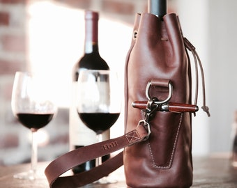 Personalized Leather Wine Tote - The Muscadine Fine Leather Wine Tote Wine Bottle Carrier Bag With Bottle Stopper - Gift for Wine Lover