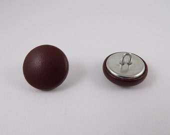Brown leather 20mm-6 covered buttons