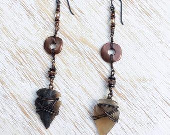 Arrowhead Earrings, Long Earrings, Earrings Handmade, Native American Jewelry, Tribal Jewelry, Tribal Earrings, Hippie Clothes Boho Earrings