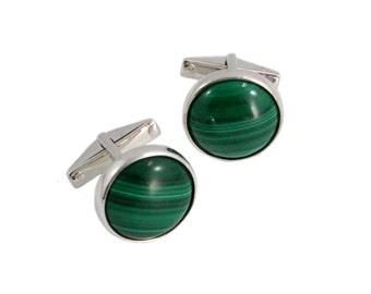 Malachite round pair 925 solid silver cufflinks - READY TO SHIP