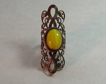 Vintage Large Costume Ring Filigree & Egg Yoke Yellow Stone